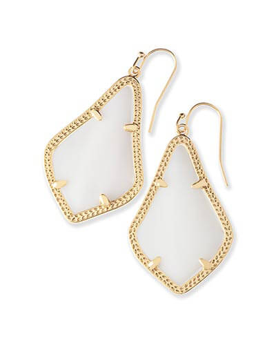 Alex Earrings in White Pearl