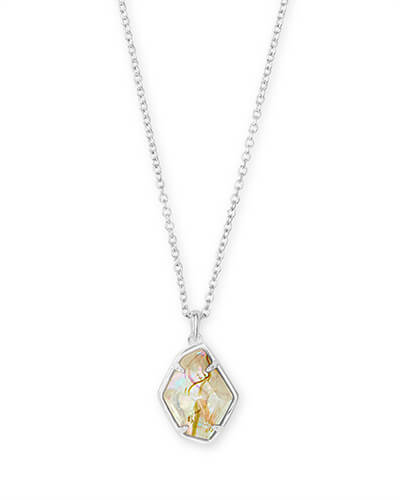 Ellington Bright Silver Pendant Necklace in White Abalone