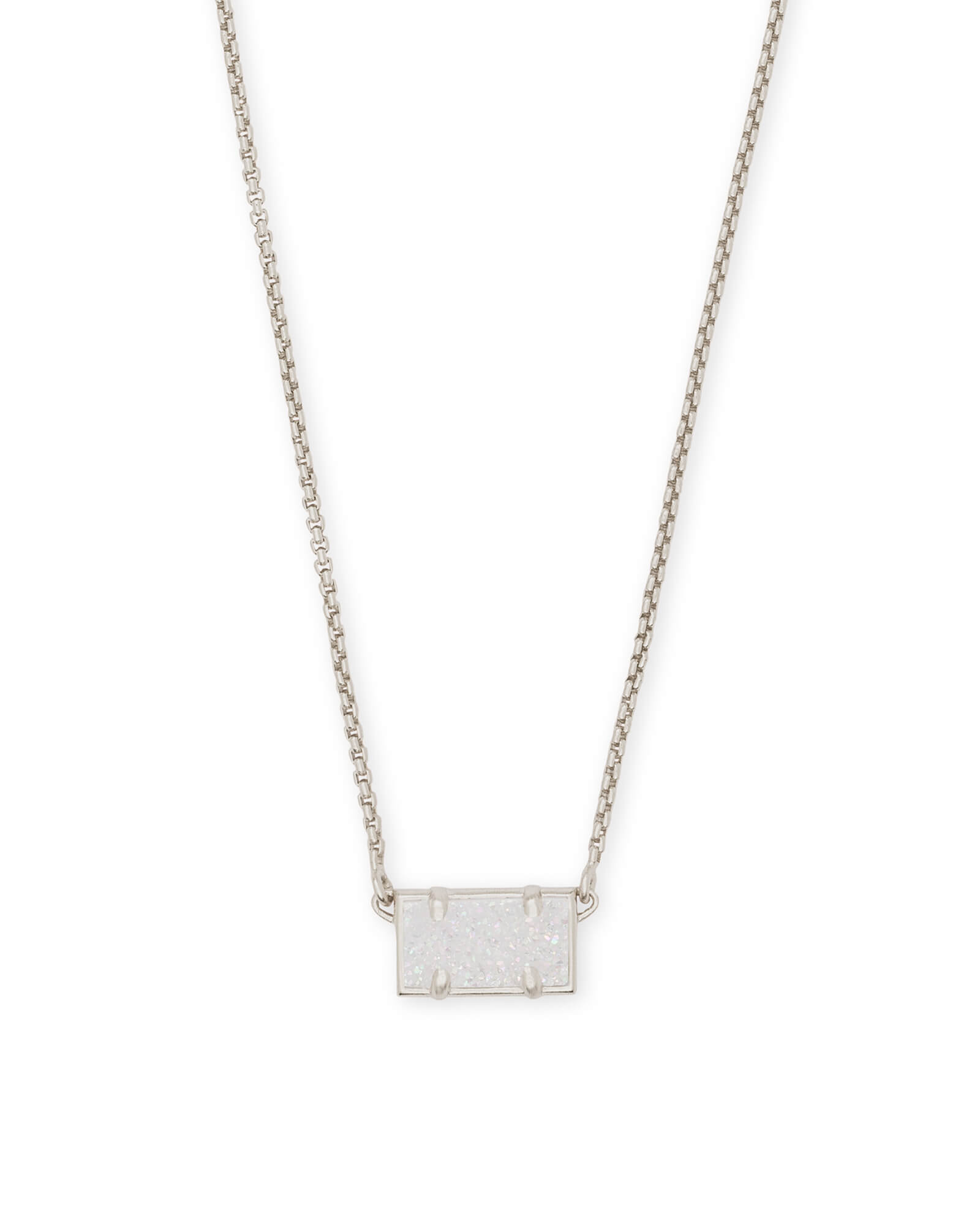 Pattie Silver Pendant Necklace In Iridescent Drusy