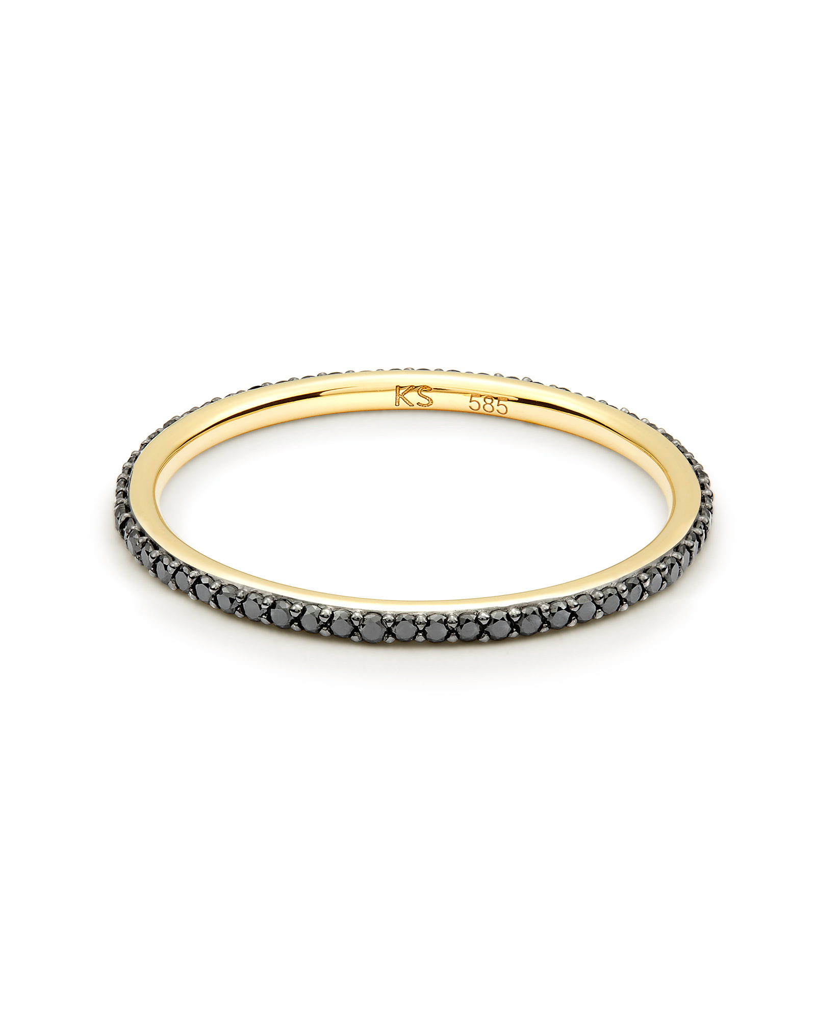 Angelina 14k Yellow Gold Band Ring in Black Diamond