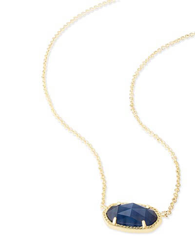 Elisa Pendant Necklace in Navy Cat's Eye