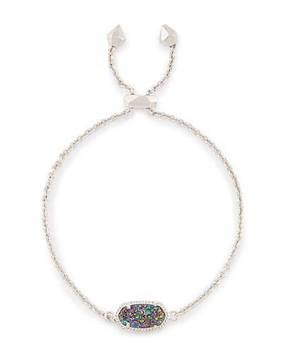 Elaina Silver Adjustable Chain Bracelet in Multi-Color Drusy