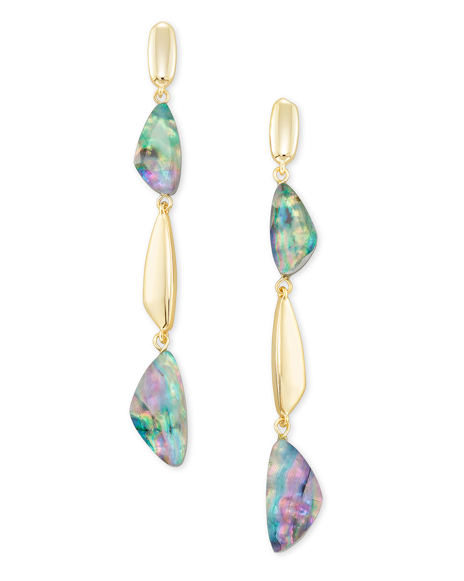 Ivy Gold Linear Earrings in Lilac Abalone