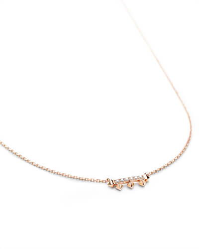 Katy Pendant Necklace in White Diamond and 14k Rose Gold