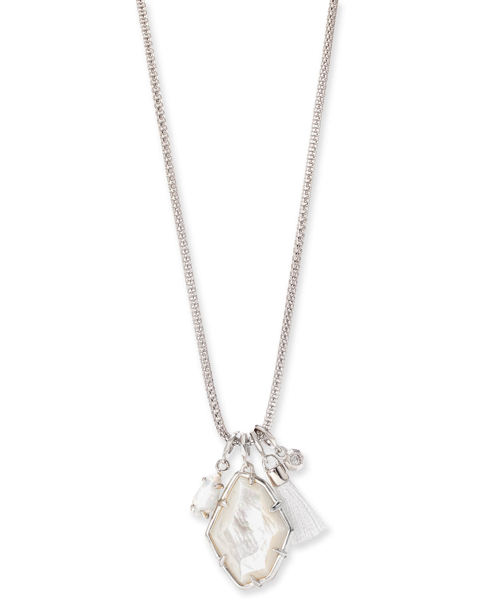 Hailey Silver Long Pendant Necklace In Ivory Mother Of Pearl by Kendra Scott
