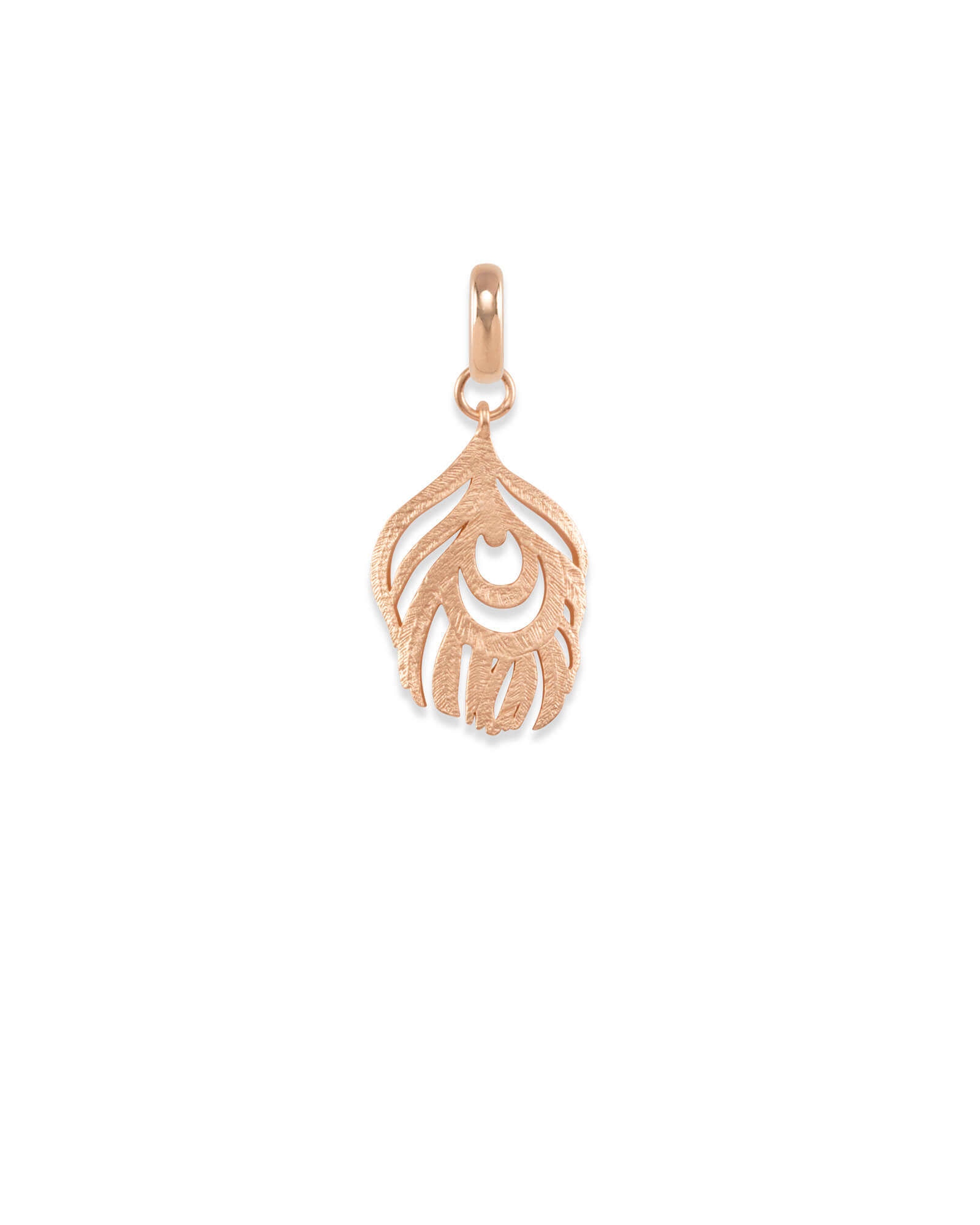 Peacock Feather Charm in Rose Gold