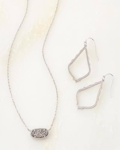Kendra Scott - Sophia Earrings and Elisa Necklace Set in Silver Photo