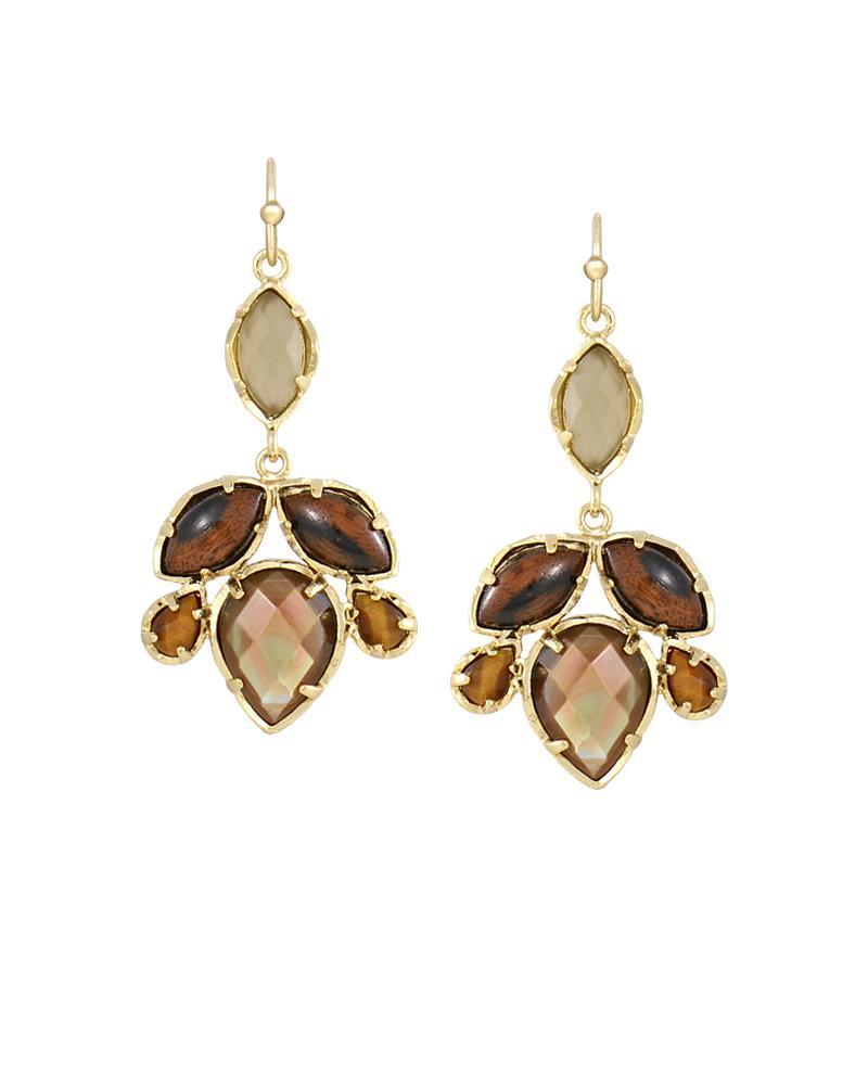 Vani gold chandelier earrings in brown bali kendra scott vani chandelier earrings in bali arubaitofo Images