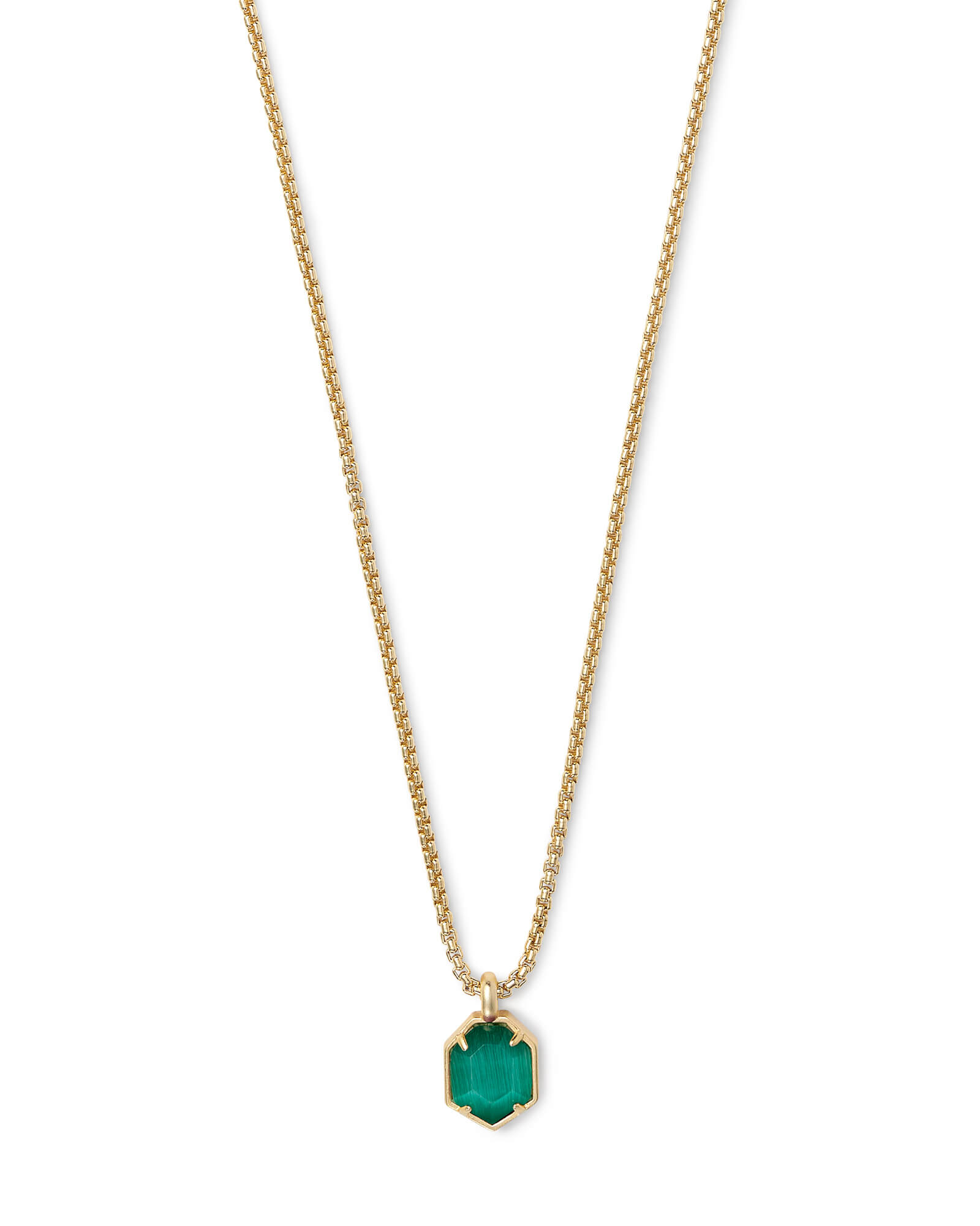 Teo Gold Pendant Necklace In Emerald Cats Eye