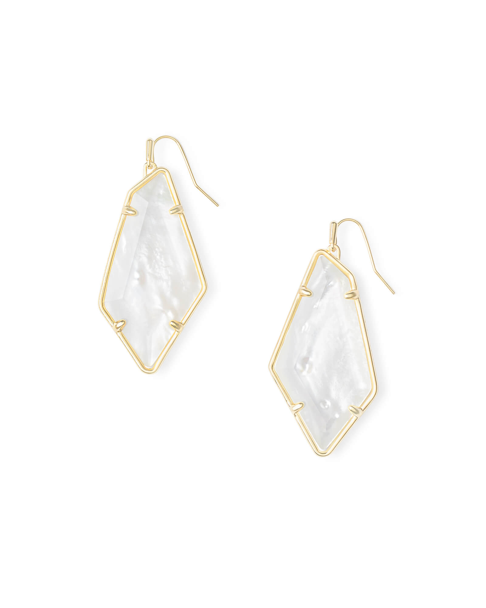 Kendra Scott Tulip Gold Tone Drop Earrings in Mother of Pearl
