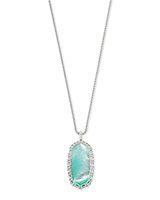 Macrame Reid Silver Long Pendant Necklace In Aqua Illusion