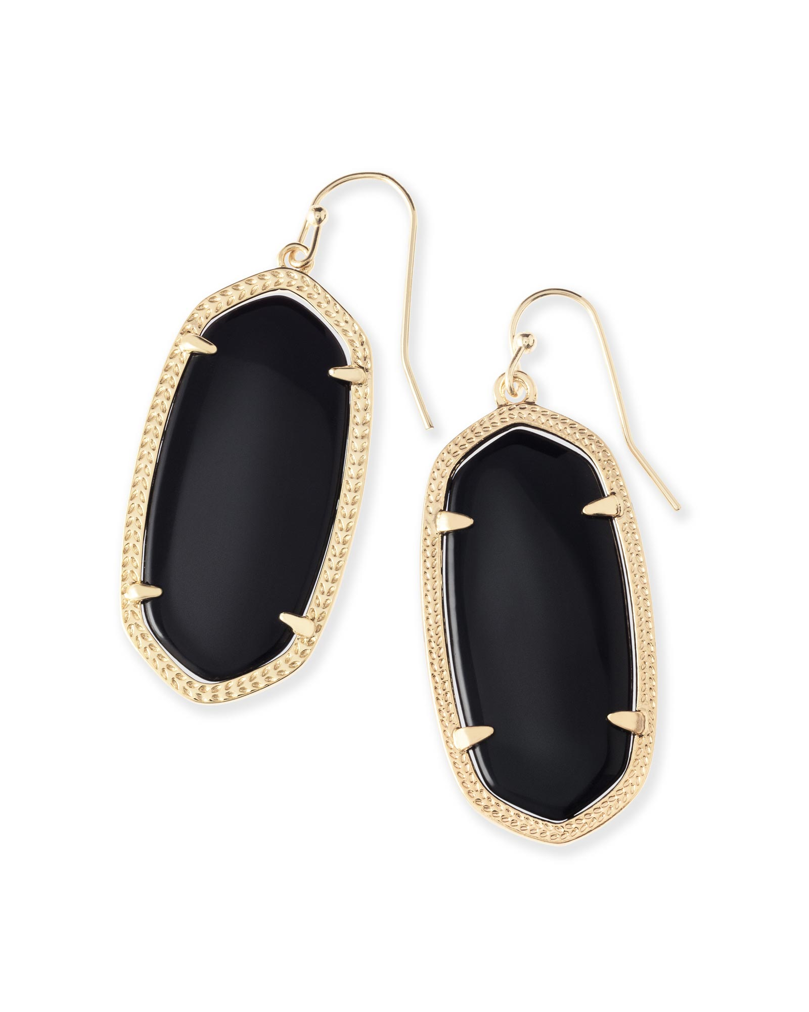 Elle Gold Earrings in Black