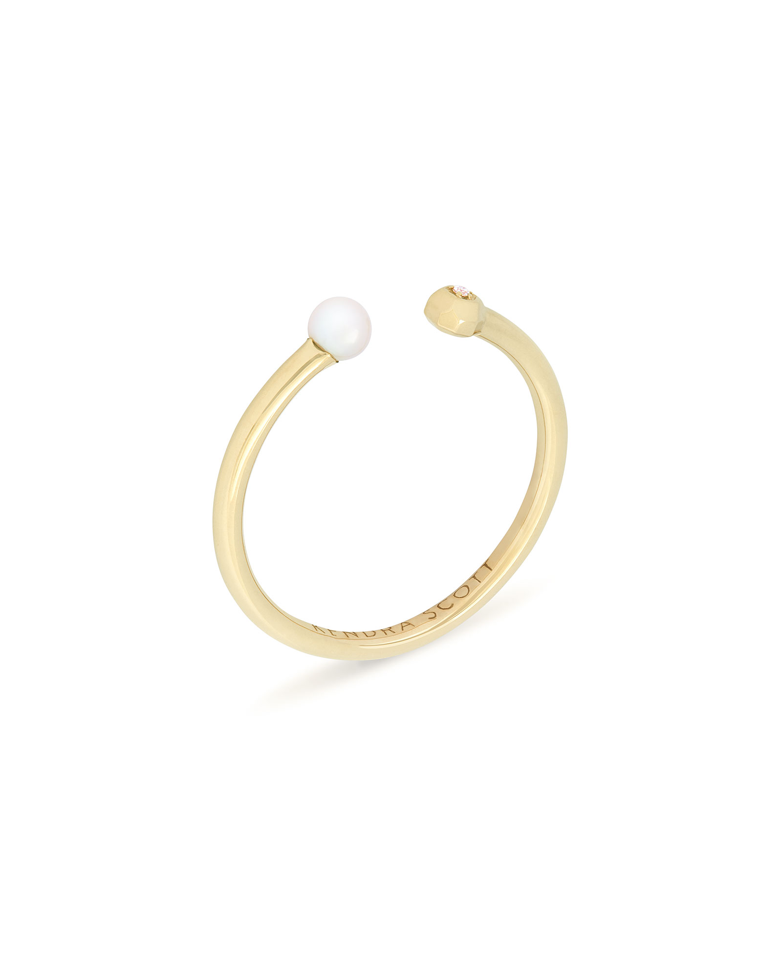 Cathleen 14k Yellow Gold Open Midi Ring in Pearl - 3