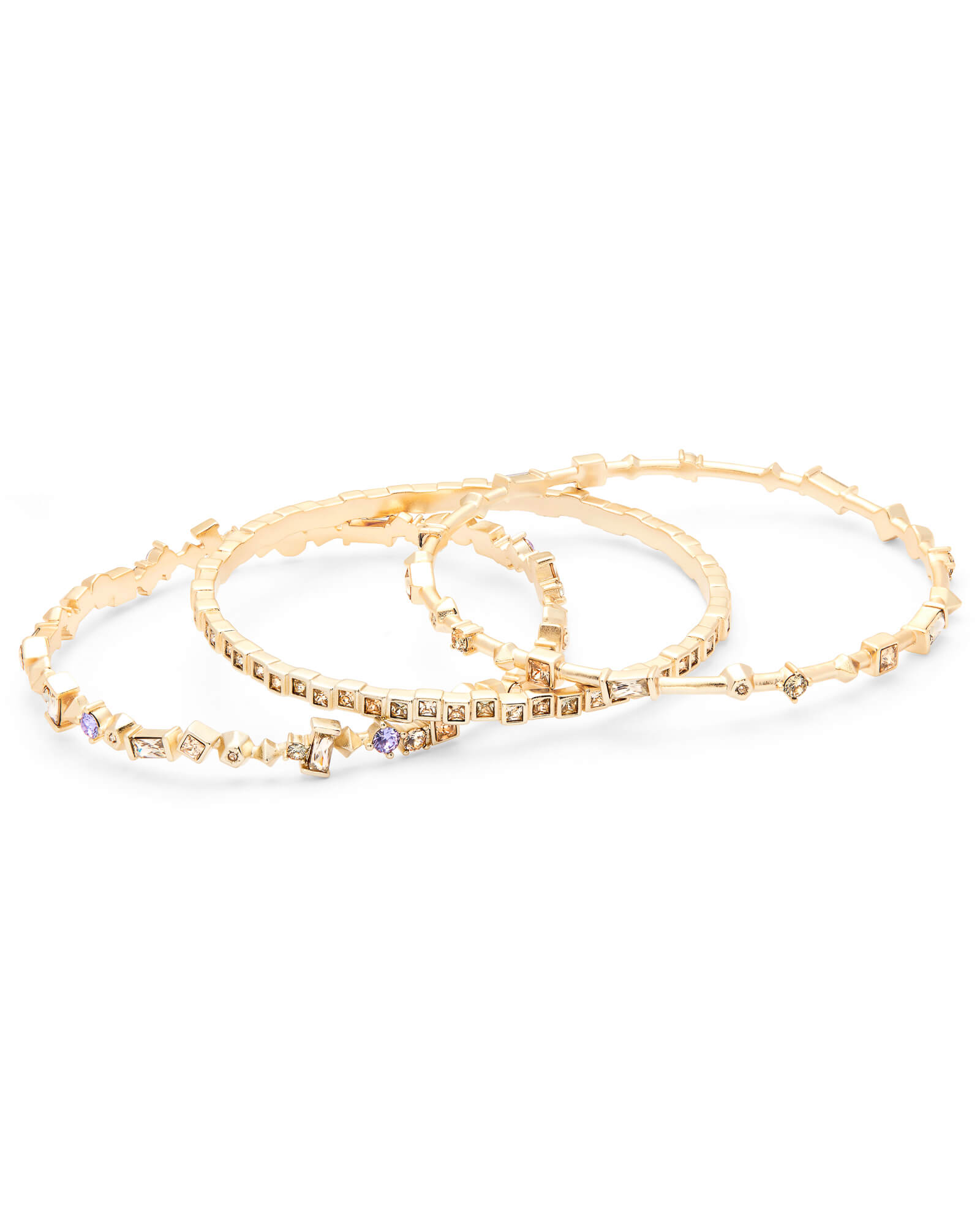 Malia Gold Bangle Bracelet Set in Smoky Mix