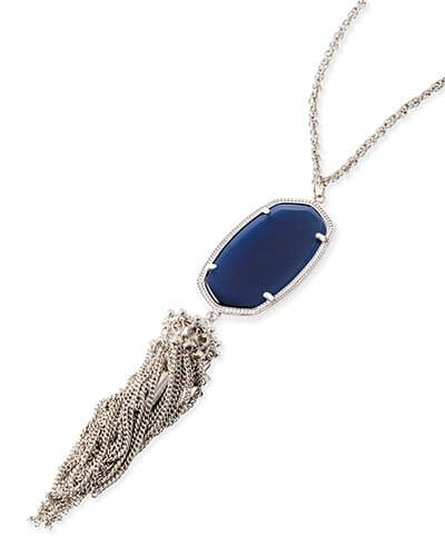 Rayne Silver Long Pendant Necklace in Navy Cat's Eye