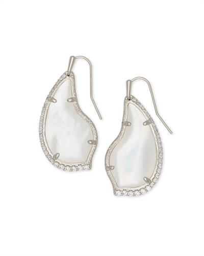 Tulip Silver Drop Earrings in Ivory Pearl