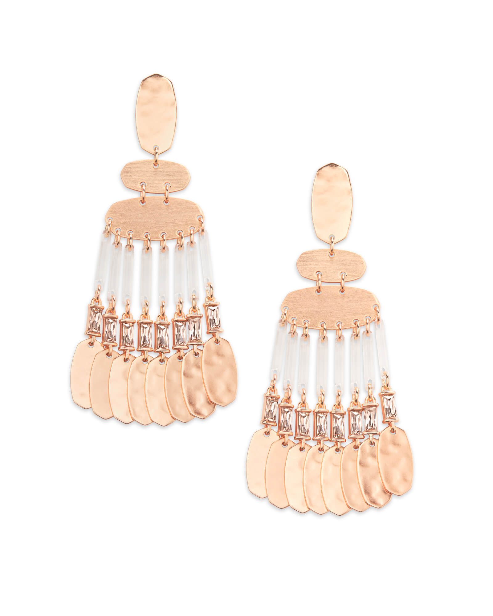 Oster Rose Gold Statement Earrings in Blush Crystal