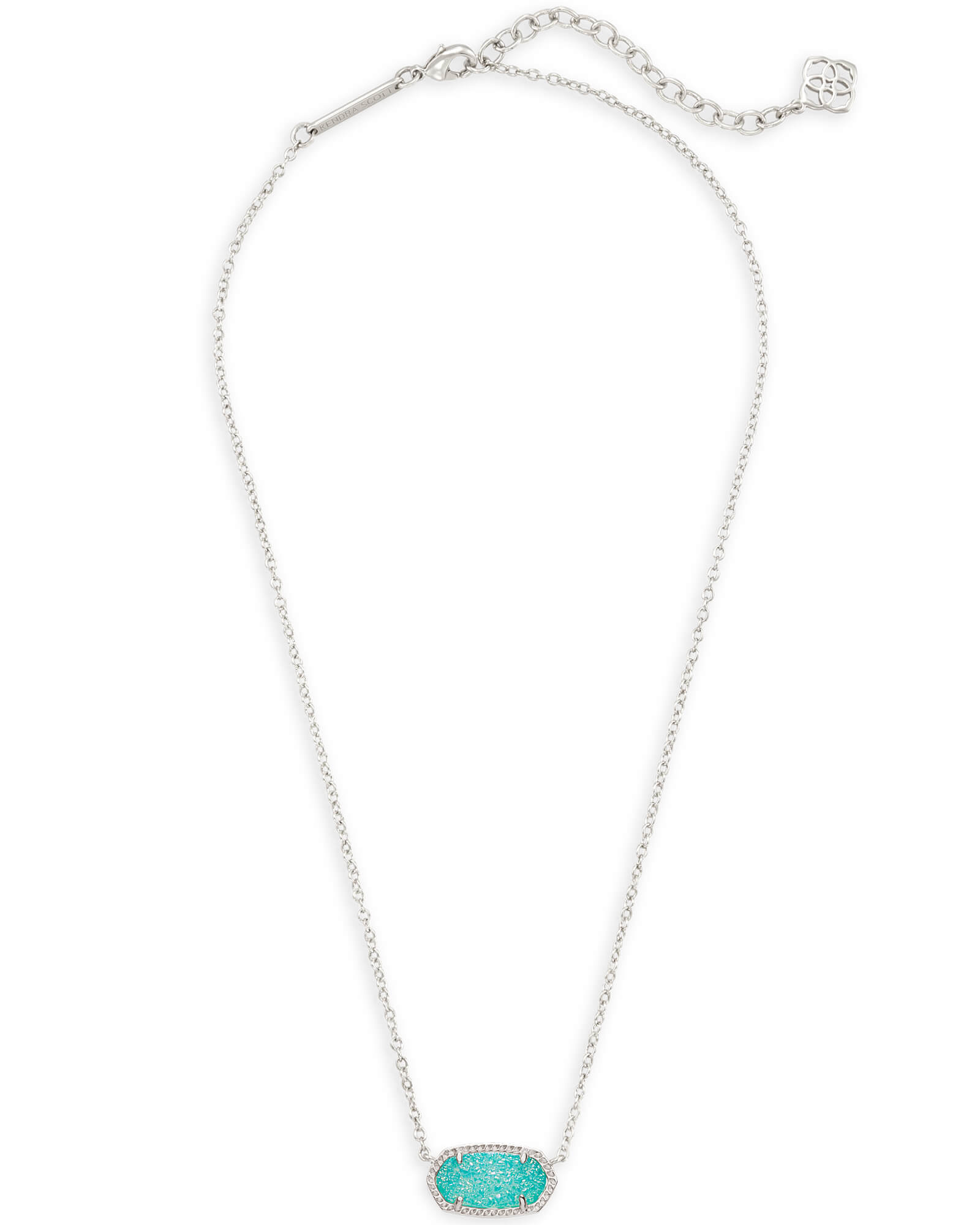 Elisa Silver Pendant Necklace in Teal Drusy