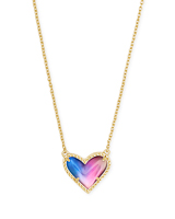 Ari Heart Gold Pendant Necklace in Watercolor Illusion