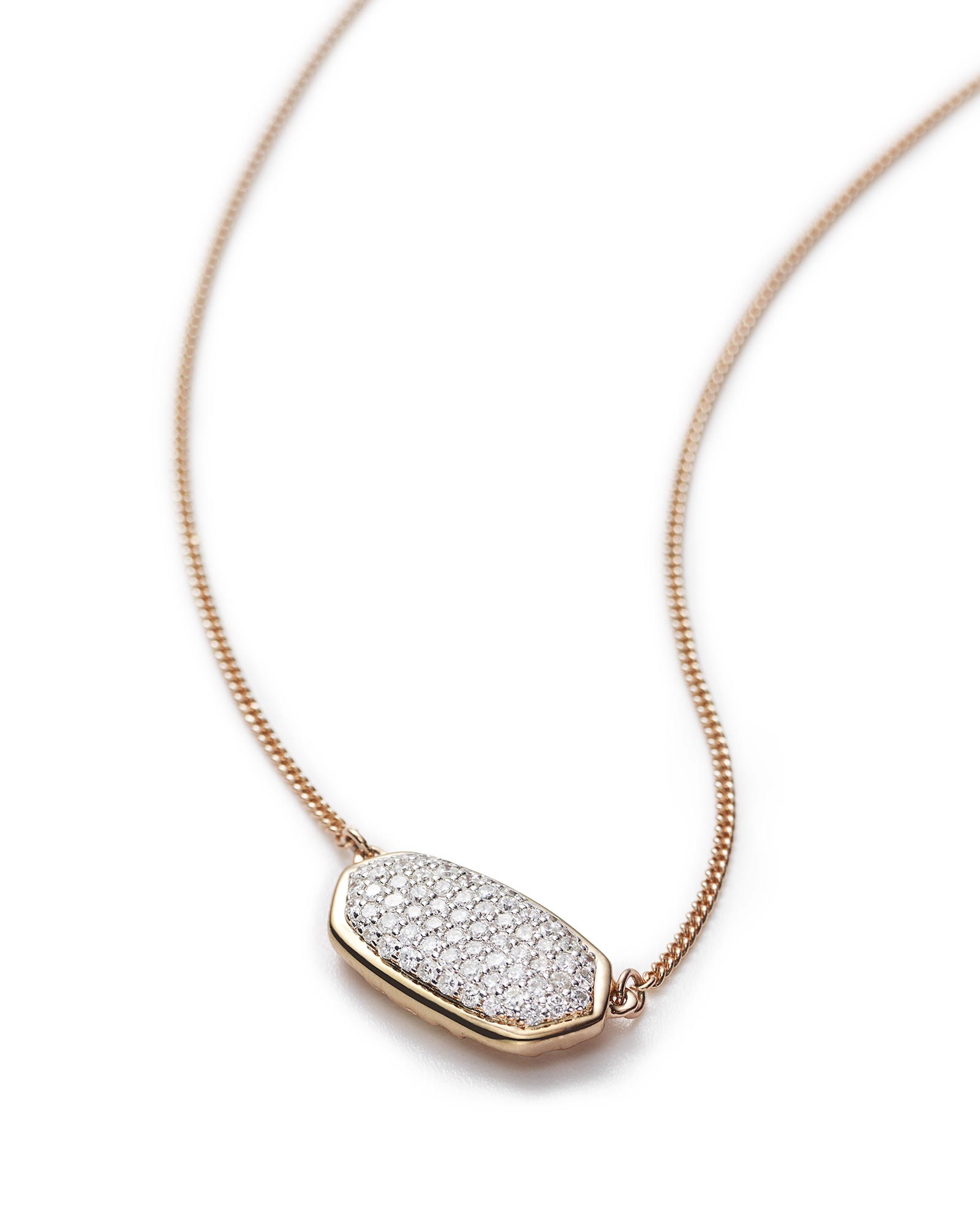 Elisa Pendant Necklace in Pave Diamond and 14k Rose Gold