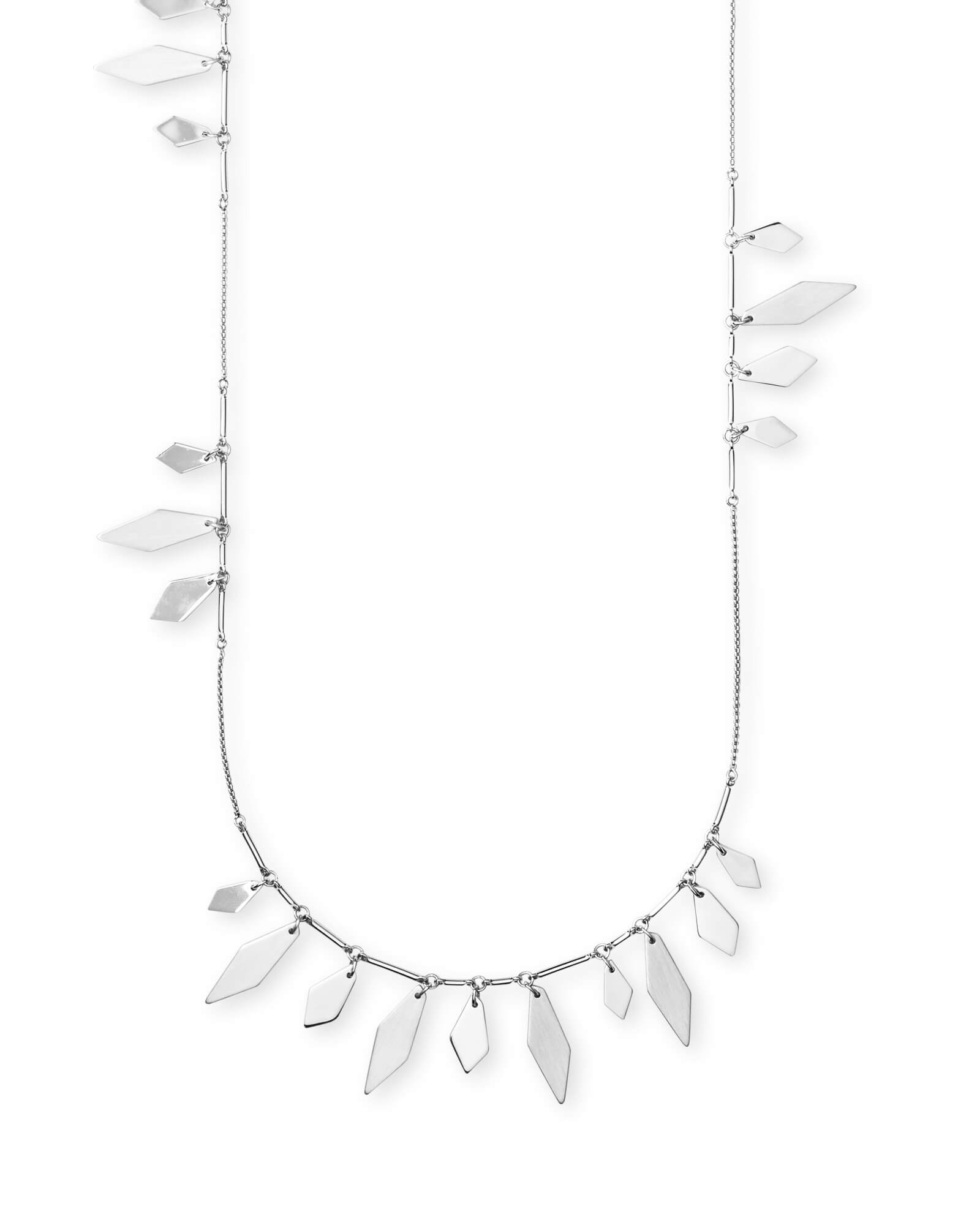 Blaine Long Necklace in Bright Silver