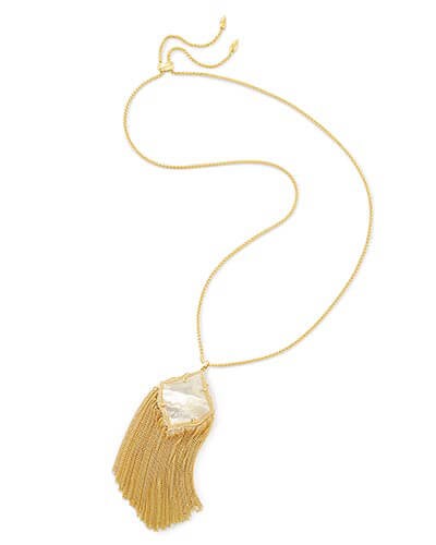 Kingston Long Pendant Necklace in Ivory Pearl