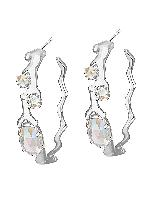 Kristin Silver Hoop Earrings in Clear Iridescent