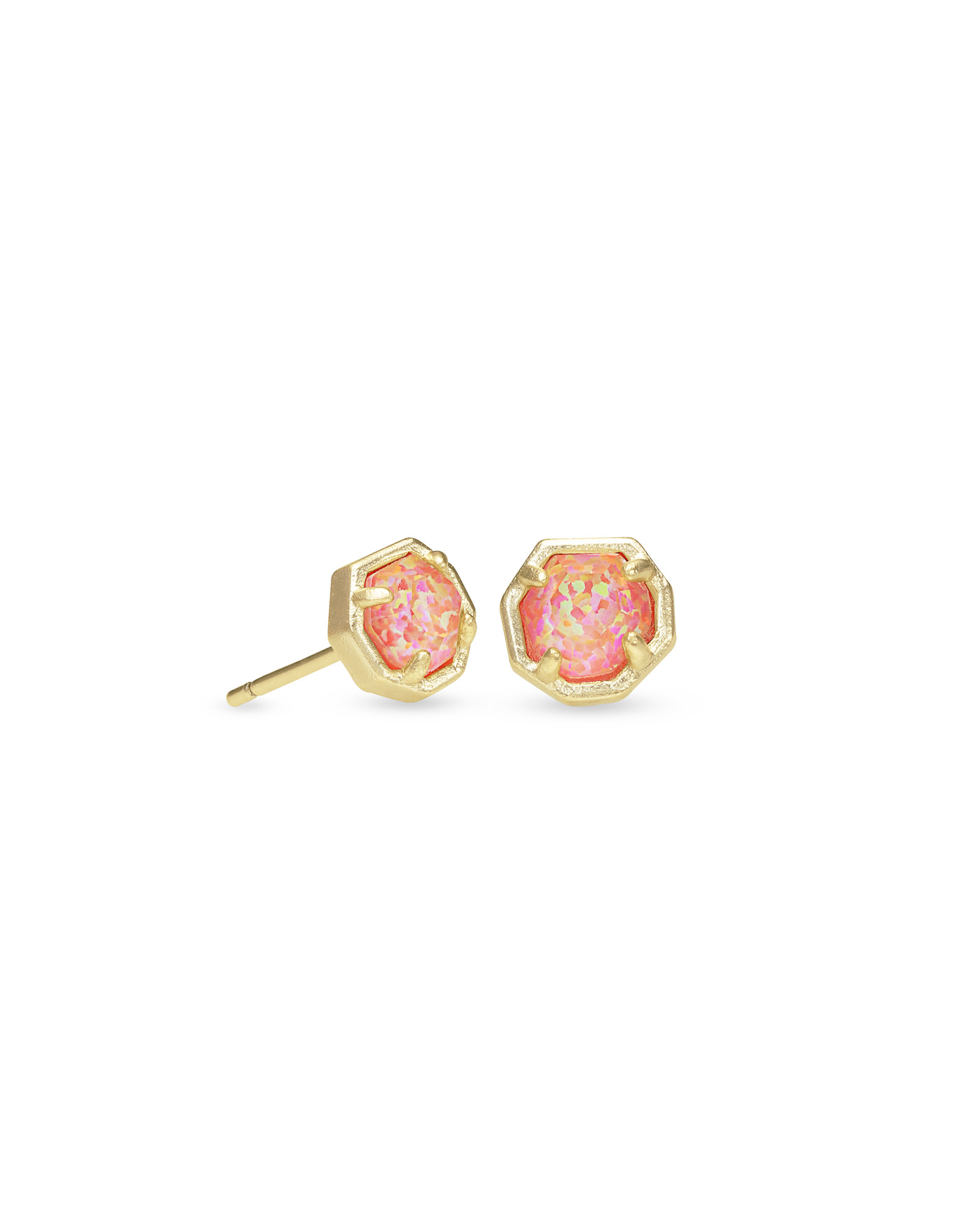 Nola Gold Stud Earrings in Coral Kyocera Opal Illusion