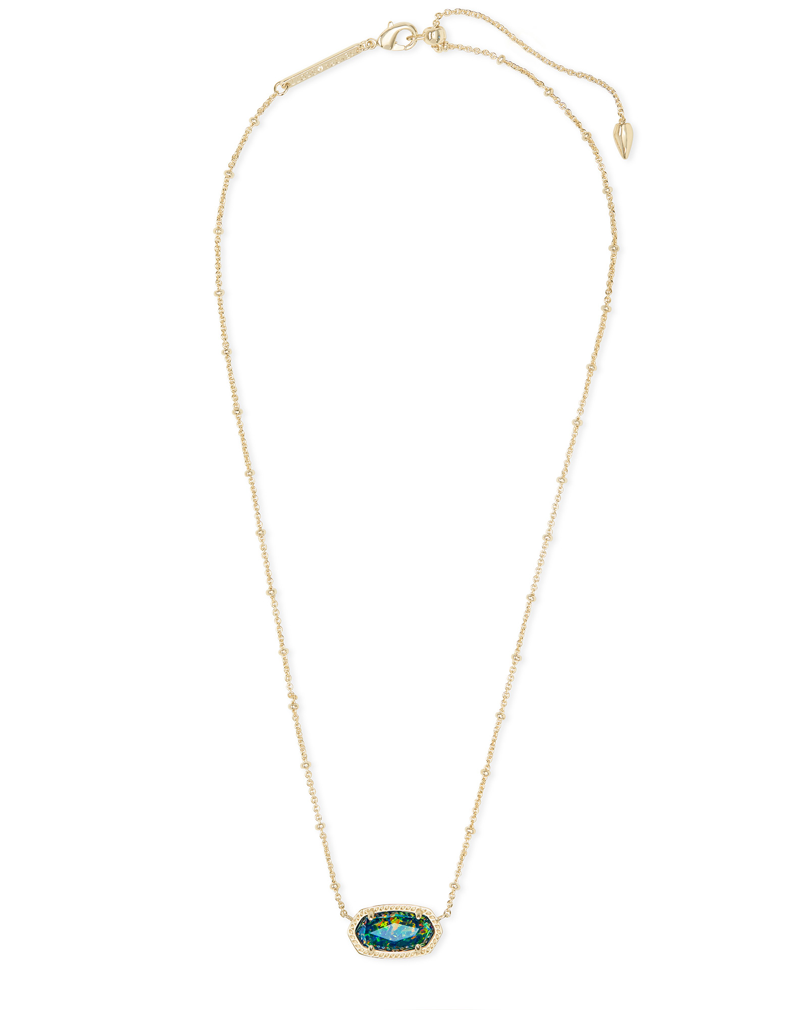 Elisa Gold Satellite Pendant Necklace in Midnight Kyocera Opal Illusion