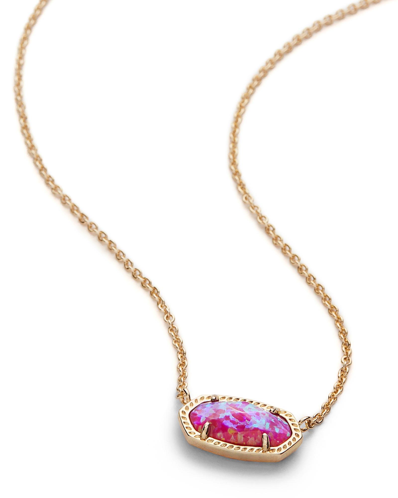 Elisa gold pendant necklace pink opal kendra scott for Kendra scott fine jewelry