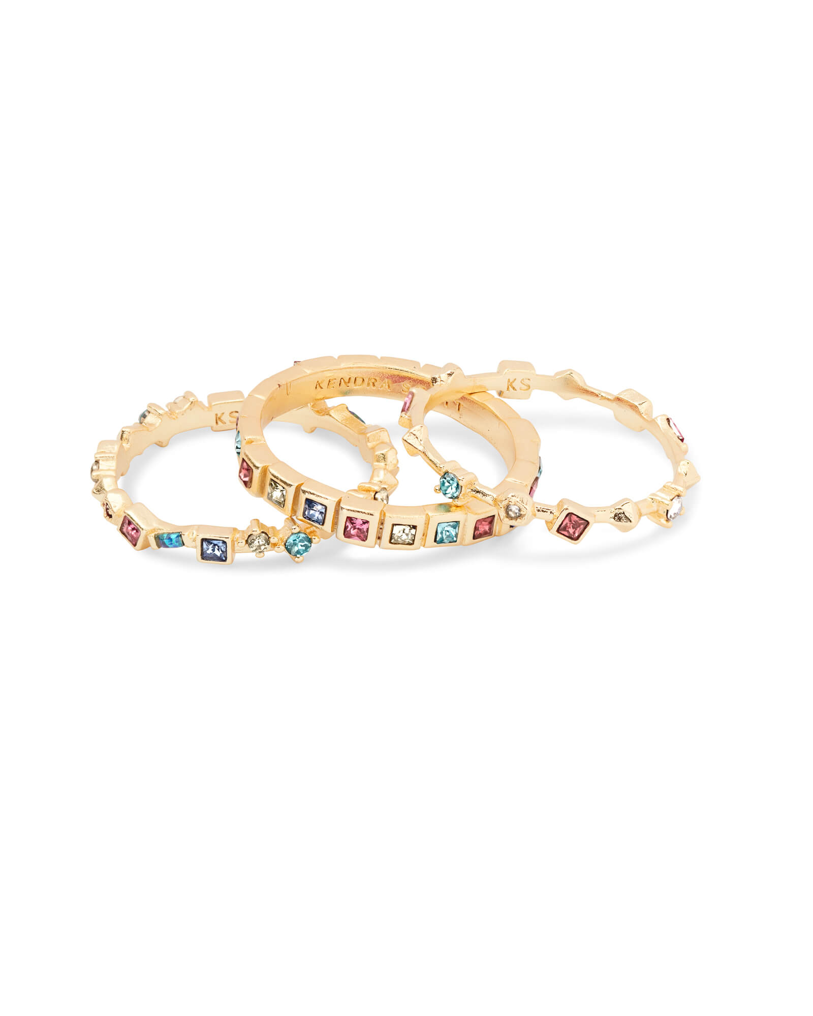 Karis Gold Stackable Ring Set in Jewel Tone Mix