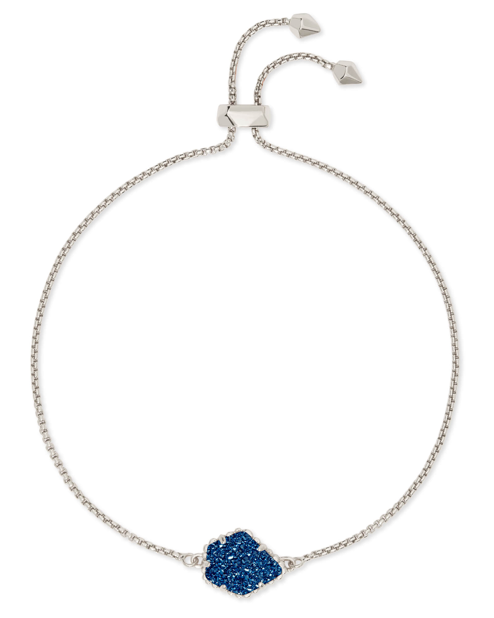 Theo Silver Adjustable Chain Bracelet in Blue Drusy