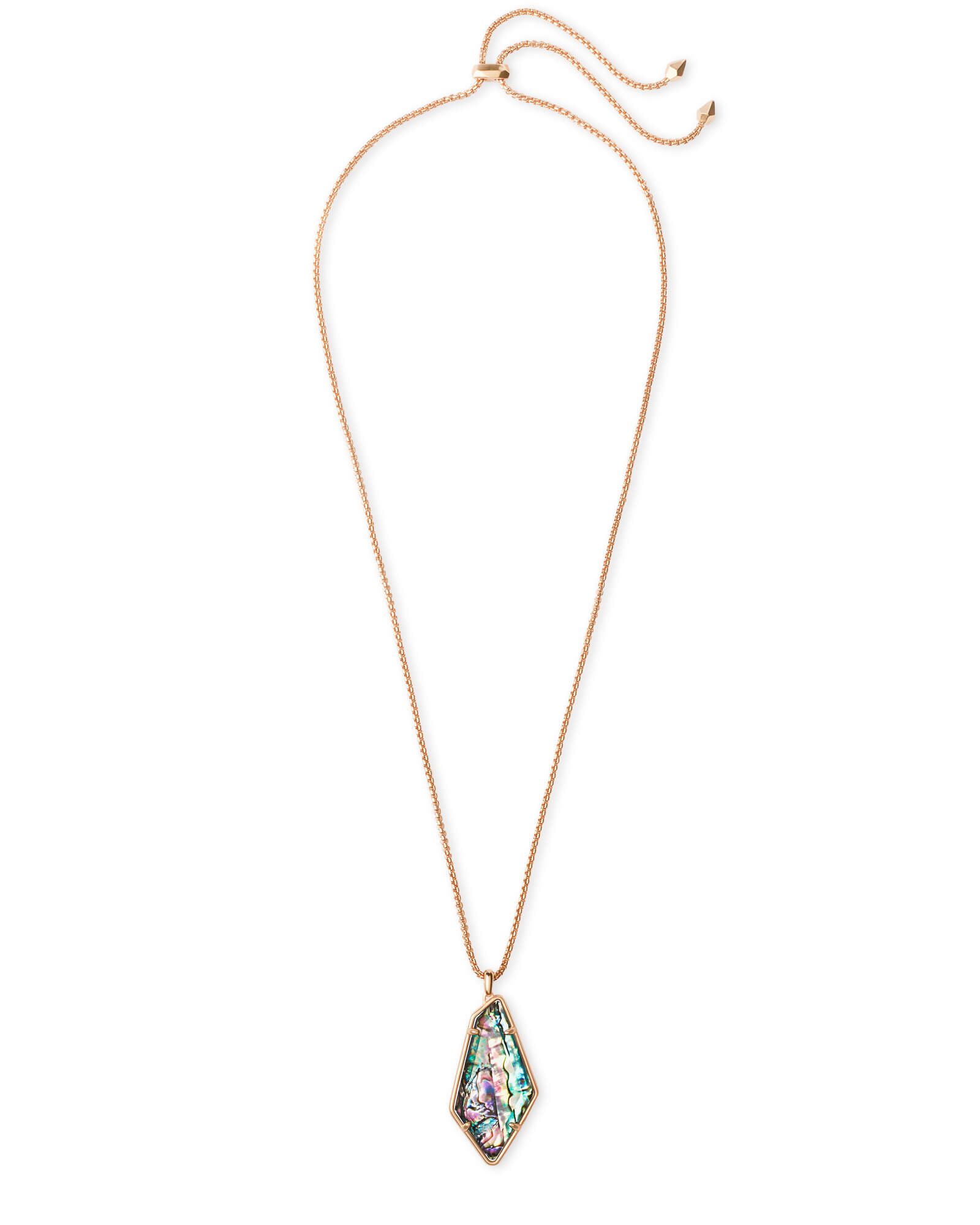 Lilith Rose Gold Long Pendant Necklace in Abalone Shell