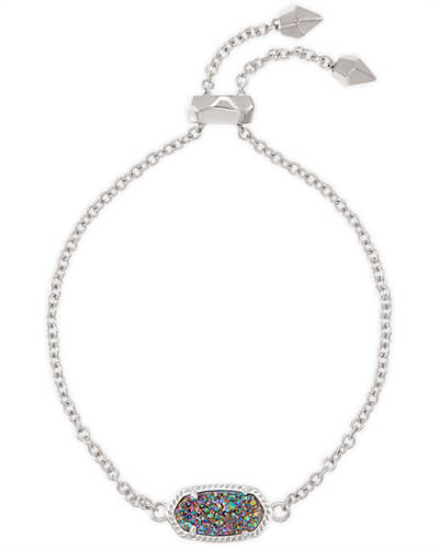 Elaina Silver Adjustable Chain Bracelet in Multicolor Drusy