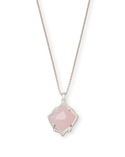 Kacey Silver Long Pendant Necklace in Rose Quartz