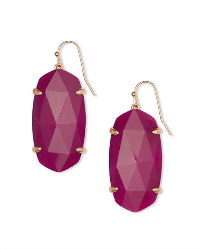 Esme Rose Gold Drop Earrings in Maroon Jade