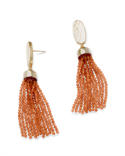 Marin Gold Statement Earrings in Goldstone Glass