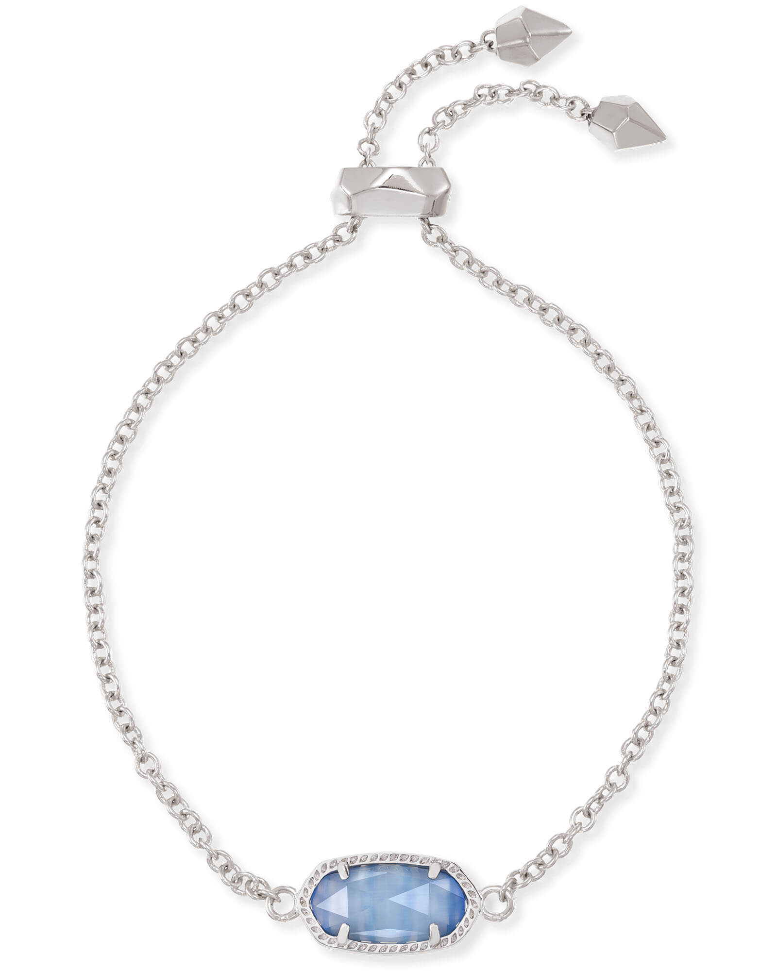 Elaina Silver Adjustable Chain Bracelet in Periwinkle Cats Eye