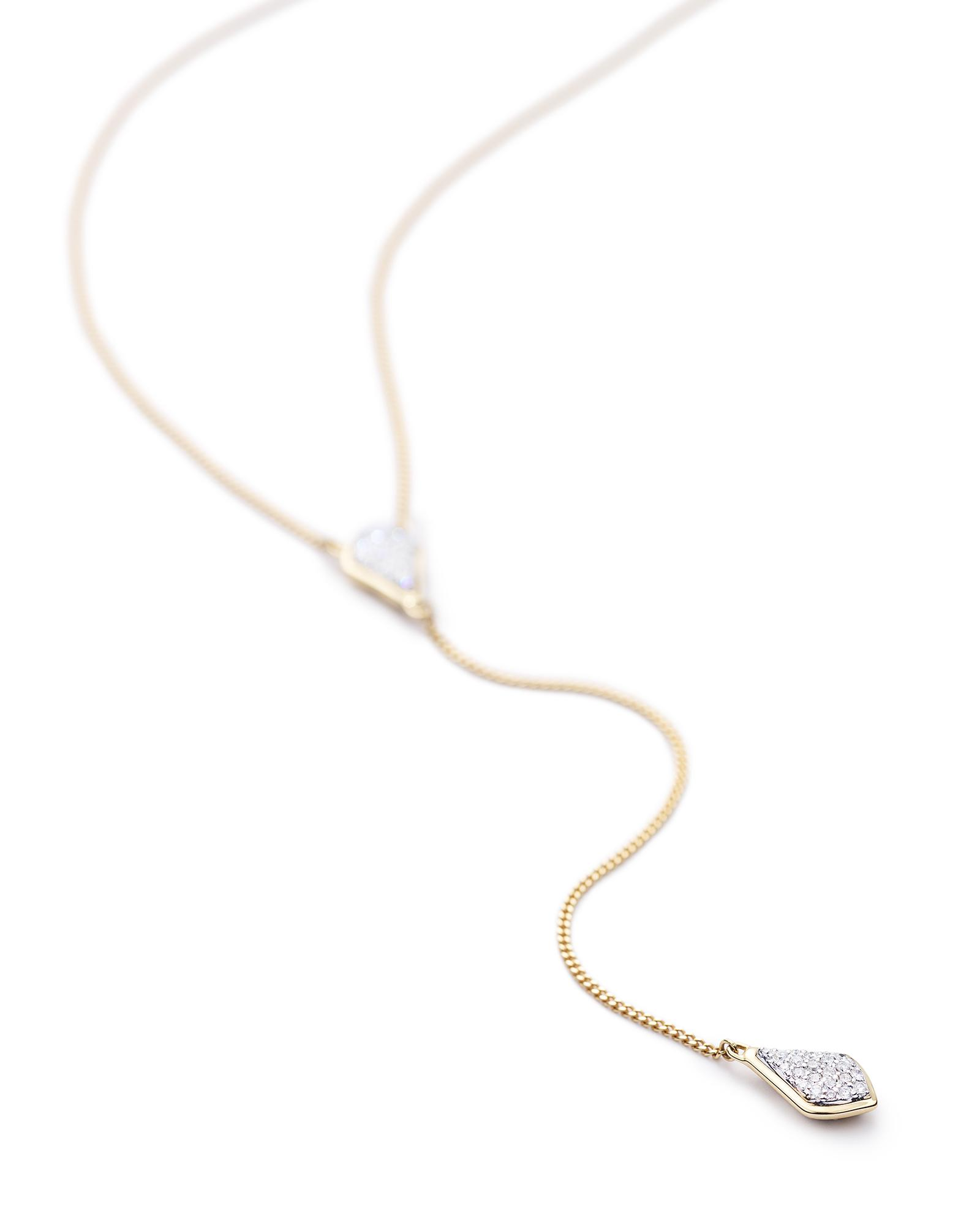 Lillian Lariat Necklace in Pave Diamond and 14k Yellow Gold