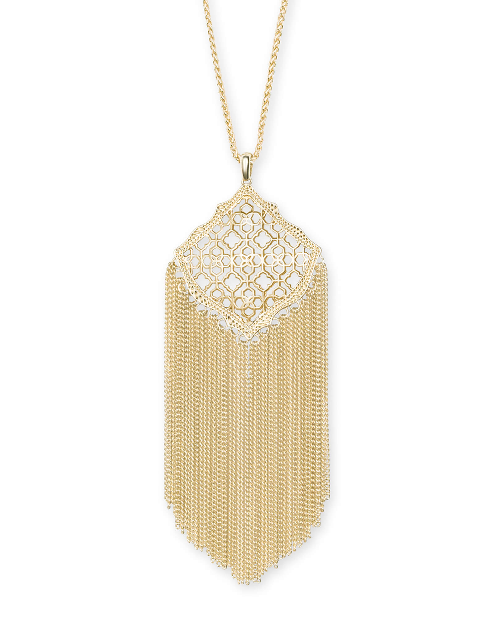 Kingston gold pendant necklace in gold filigree kendra scott kingston gold long pendant necklace in gold filigree mix mozeypictures Images