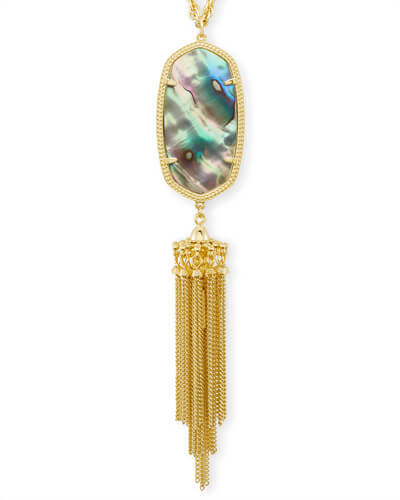 Rayne Gold Long Pendant Necklace in Abalone Shell