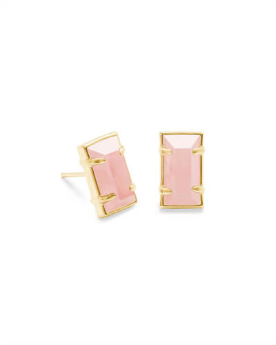 Paola Gold Stud Earrings in Rose Quartz