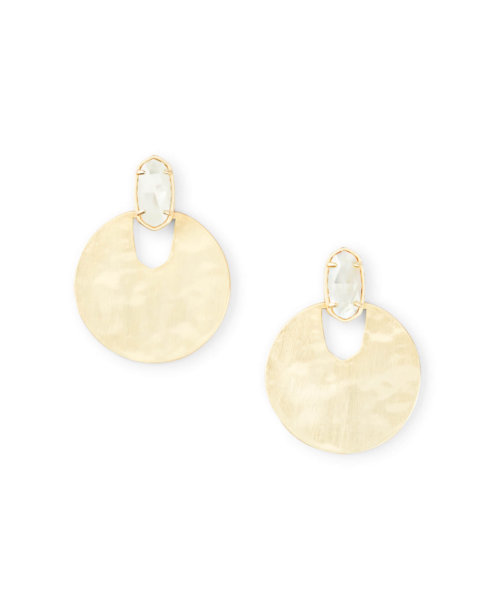 Deena Gold Hoop Earrings in Ivory Mother-of-Pearl