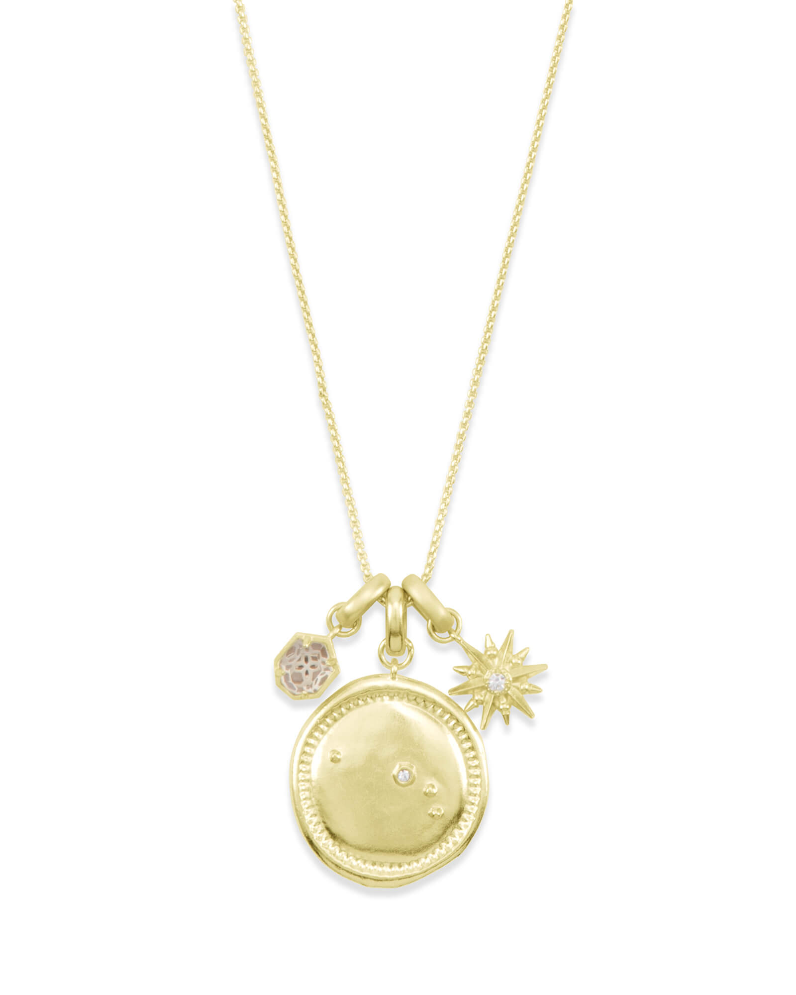 April Aries Charm Necklace Set in Gold