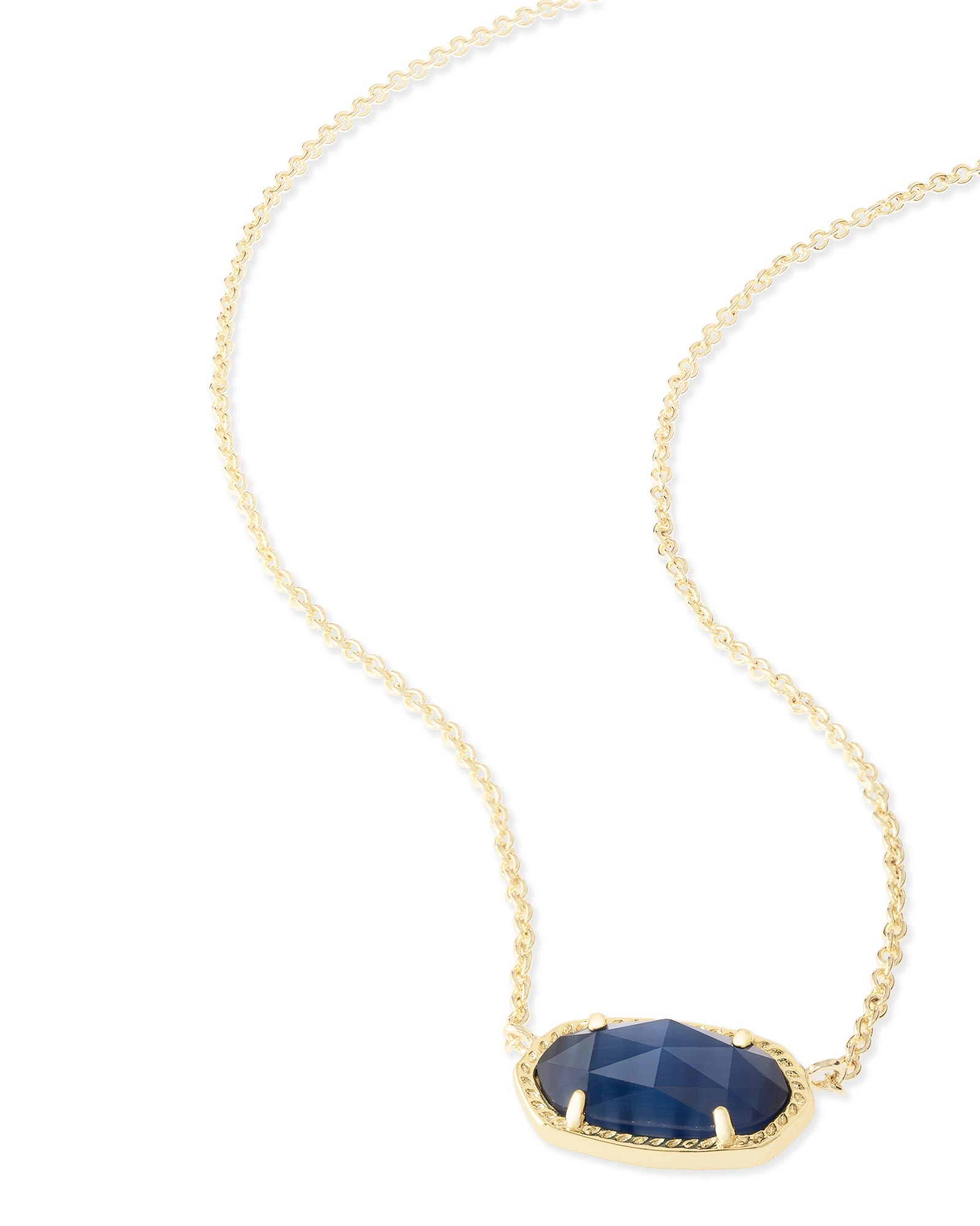 Elisa gold pendant necklace in navy blue kendra scott elisa pendant necklace in navy cats eye mozeypictures Images