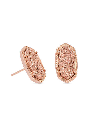 Ellie Stud Earrings in Rose Gold Drusy