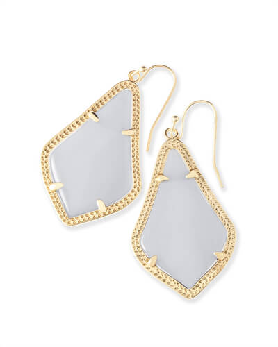Alex Gold Drop Earrings in Slate Cats Eye