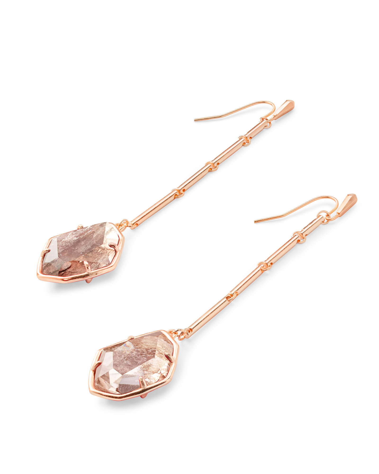 Charmian Rose Gold Drop Earrings in Sable Mica