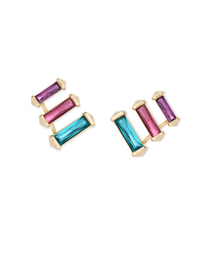 Brooks Gold Ear Climbers in Jewel Tone Mix