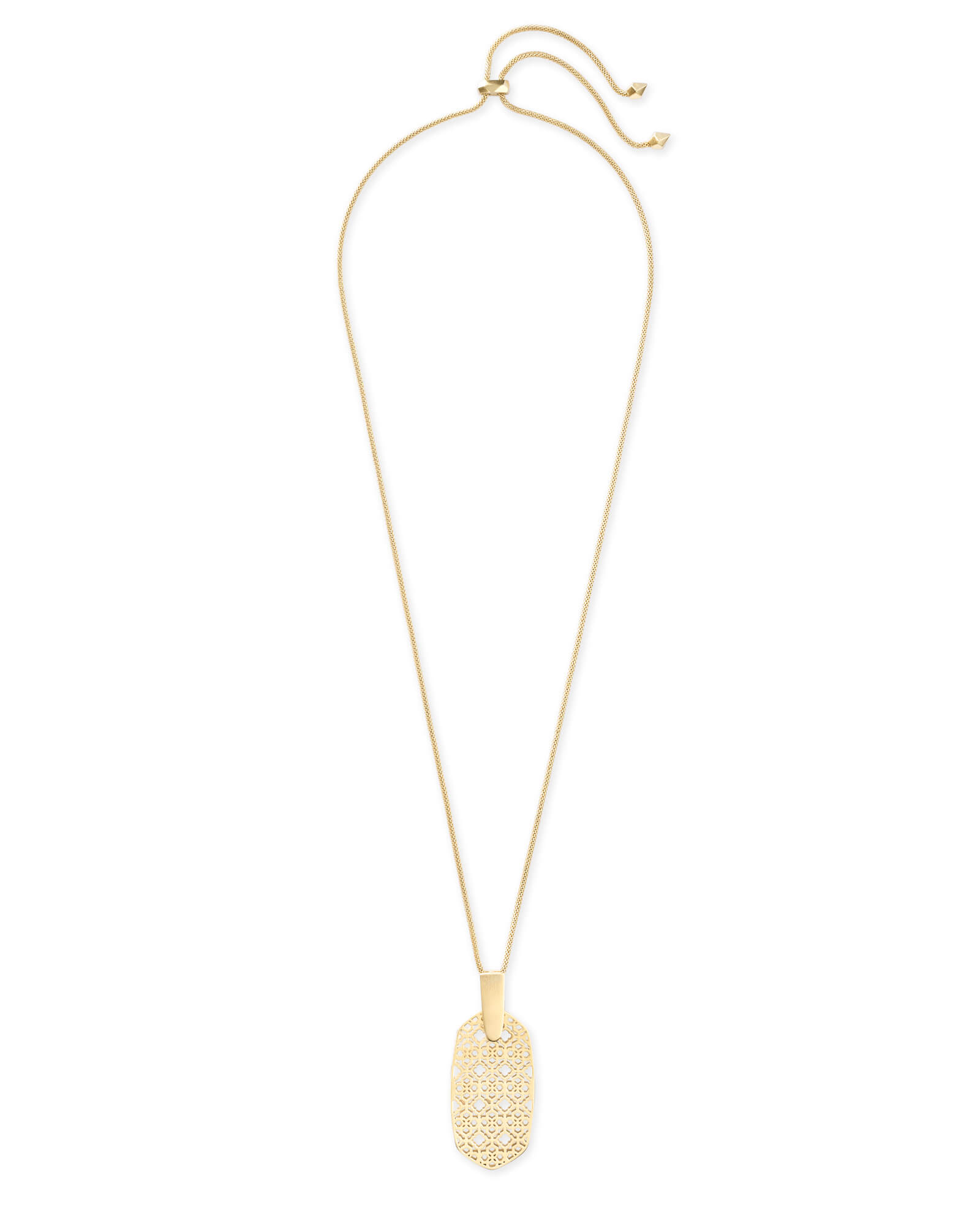 Inez Gold Long Pendant Necklace in Gold Filigree